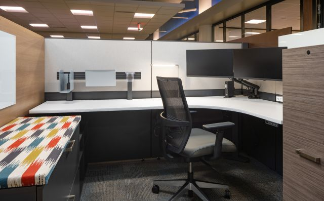Client Space with Matrix, Day-to-Day Height Adjustable Table, L Series and Calibrate Series Storage, Tool Rail, Dual Monitor Arms, and Devens seating