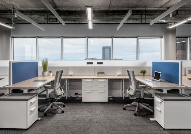 Client Space Shared Matrix Workstation with L Series Storage, Height Adjustable Tables and Natick Seating