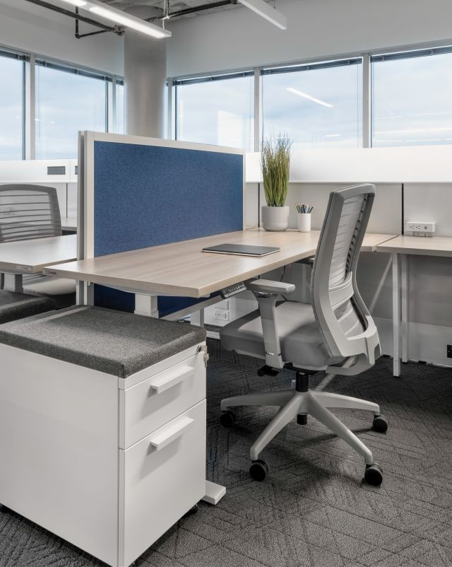 Client Space with Height Adjustable Tables and Privacy Screens. Shown with L Series Storage, Matrix Panels and Natick Seating