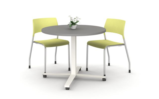 Day to Day Table in with Round 2mm edge top in Storm with X-base on casters in Chalk, shown with Pierce Seating