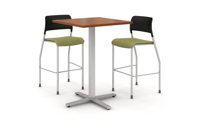 Day to Day Tall Table with Square 2mm edge top with X-base, shown with Pierce Stools