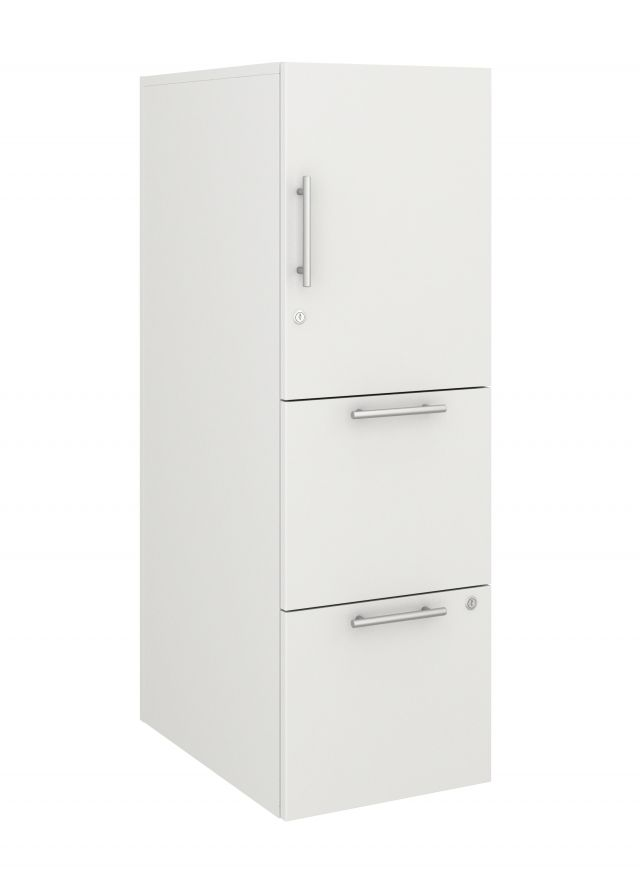 Calibrate Series Storage Tower in AIS True White Laminate with Bar Pull