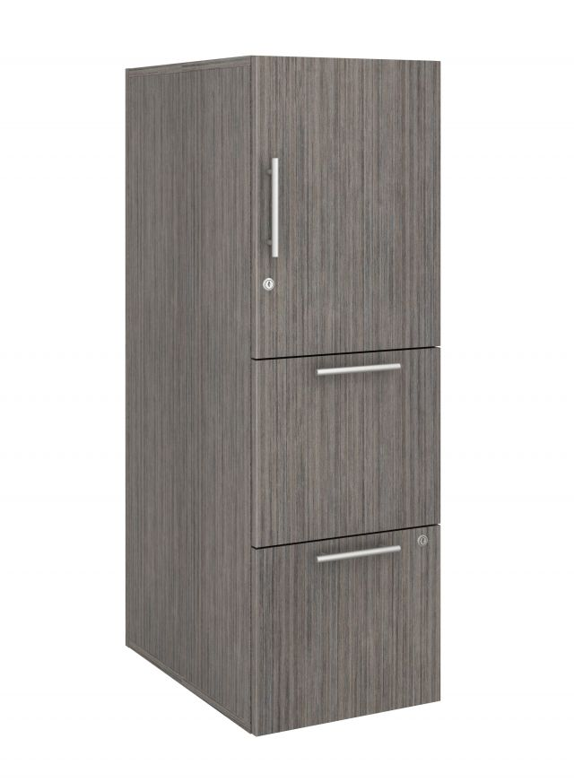 Calibrate Series Storage Tower in AIS Absolute Acajou Laminate with Bar Pull