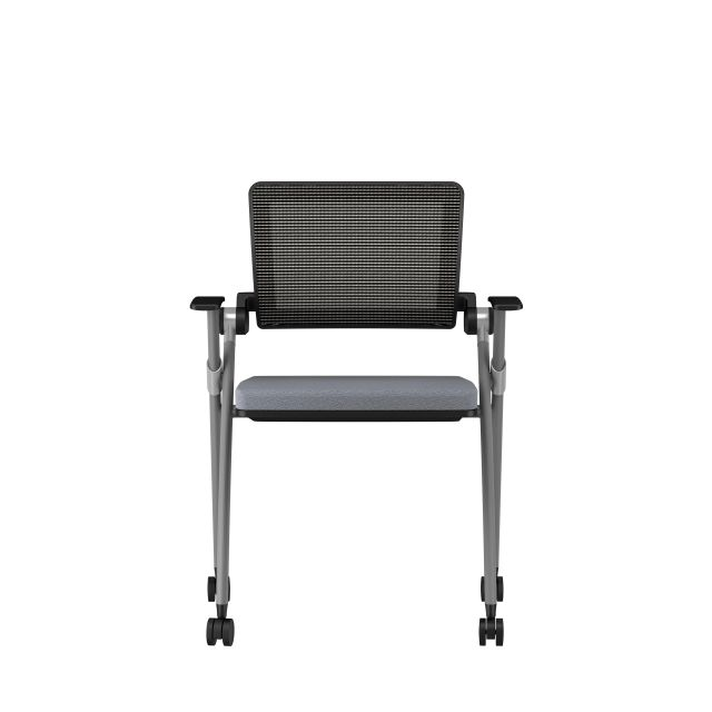 Stow Side Seating with standard grey fabric, black frame, front view