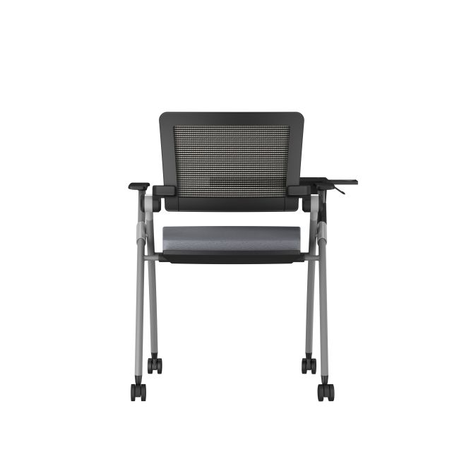 Stow Side Seating with standard grey fabric, black frame, casters and tablet, back view