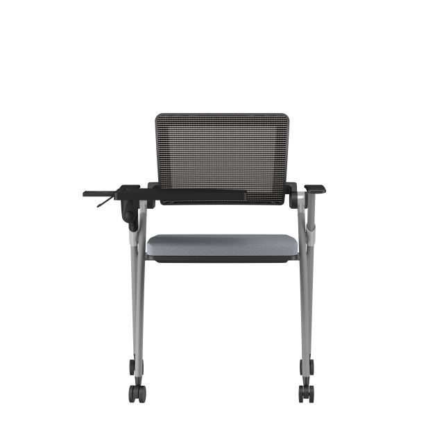 Stow Side Seating with standard grey fabric, black frame, casters, tablet, back view