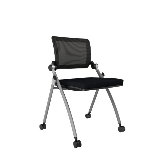 Stow Grey Frame with No Arms, Casters, Standard Black Fabric