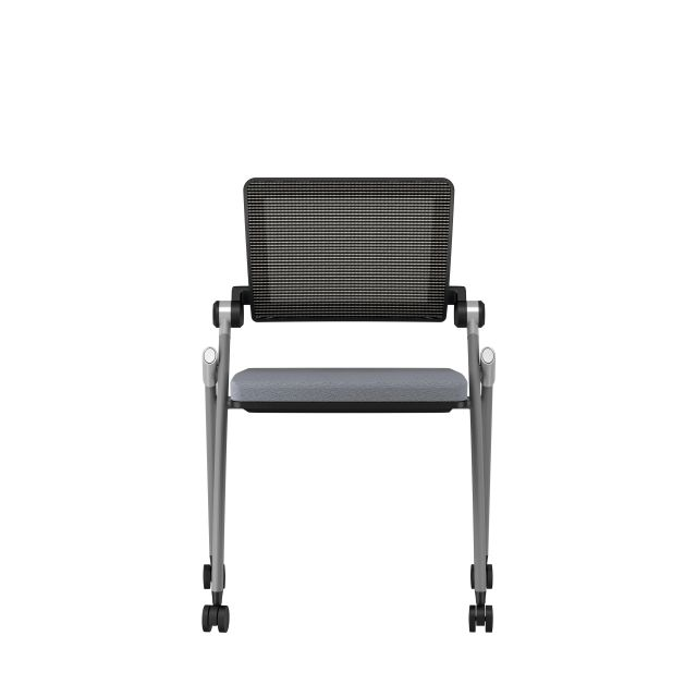 Stow Side Seating with standard grey fabric, no arms, casters black frame, front view