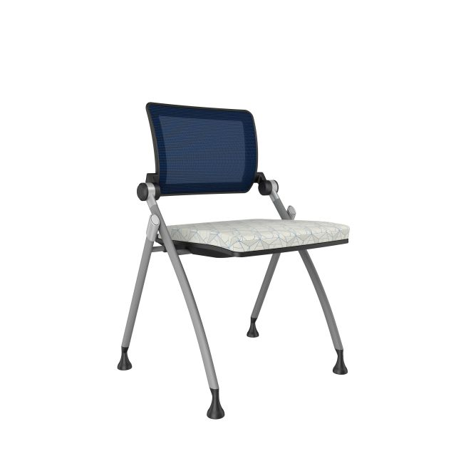 Stow with Blue Mesh, Silver Frame, armless, on glides with HBF FoldedLines Grey and Aqua Seat Cushion