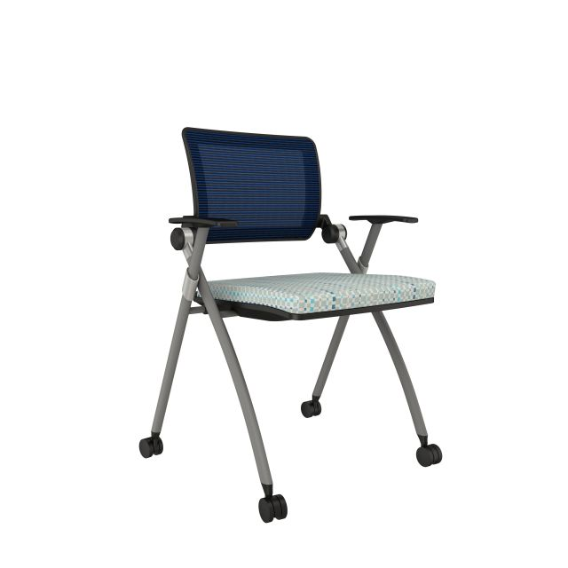 Stow with Blue Mesh, Silver Frame, on Casters with Maharam Mulitply Sway Seat