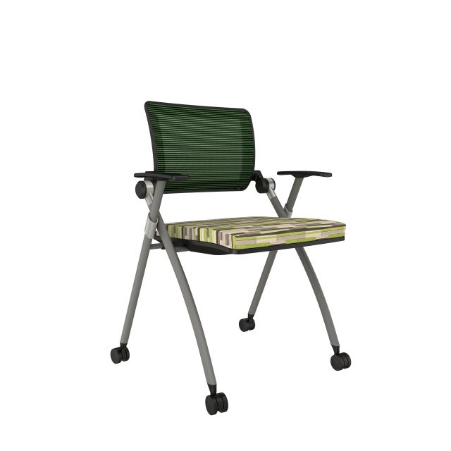 Stow with Green Mesh, Silver Frame, Casters and Loomsource Blockstripe Dragonfly Seat Cushion
