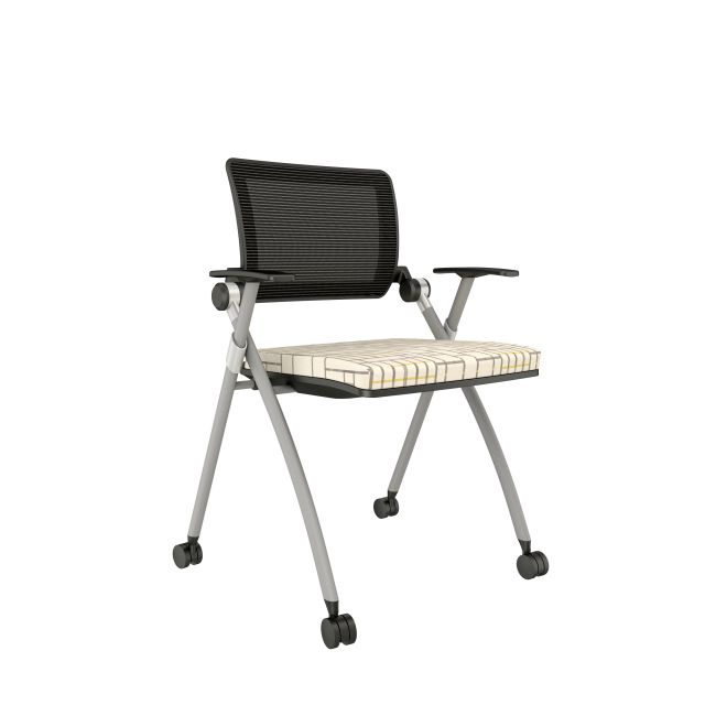 Stow with Grey Mesh, Silver Frame, Casters and Luum Subdivide Bike Lane Seat Cusion