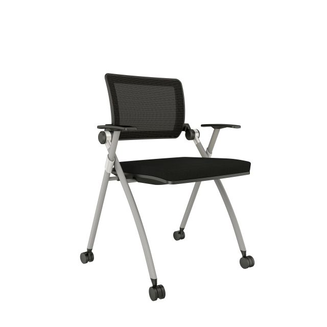 Stow with Grey Mesh, Silver Frame, Casters and Standard Black Seat Cushion