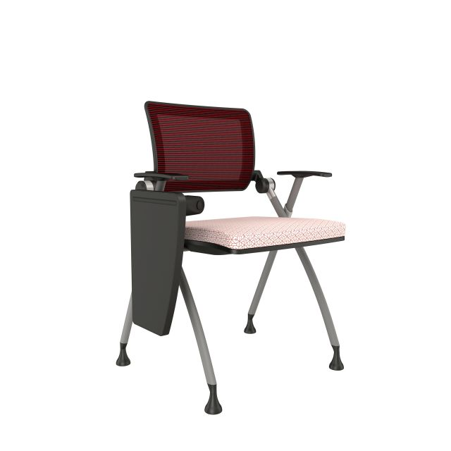 Stow Red Mesh on Glides with Tablet Arm Down and Carnegie TriadSeat Cushion