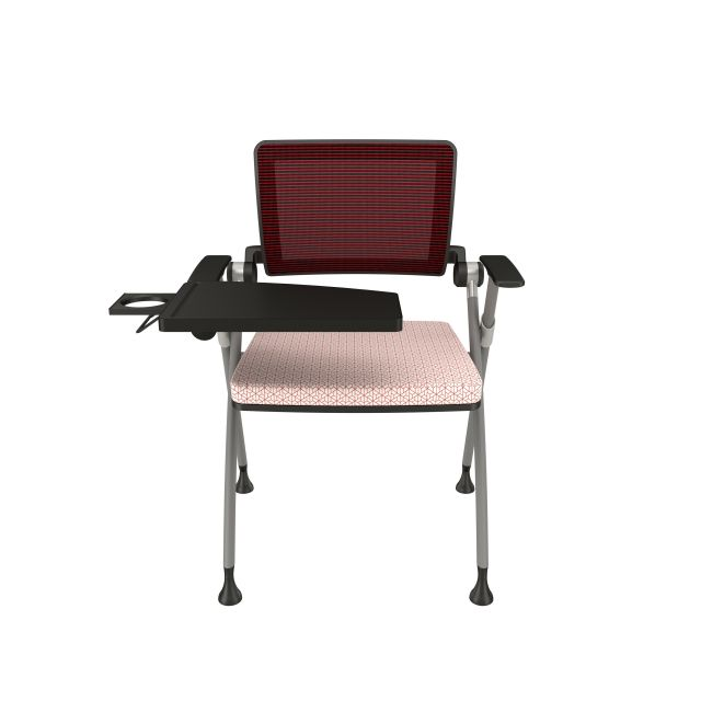 Stow Red Mesh on Glides with Tablet Arm Up and Carnegie TriadSeat Cushion