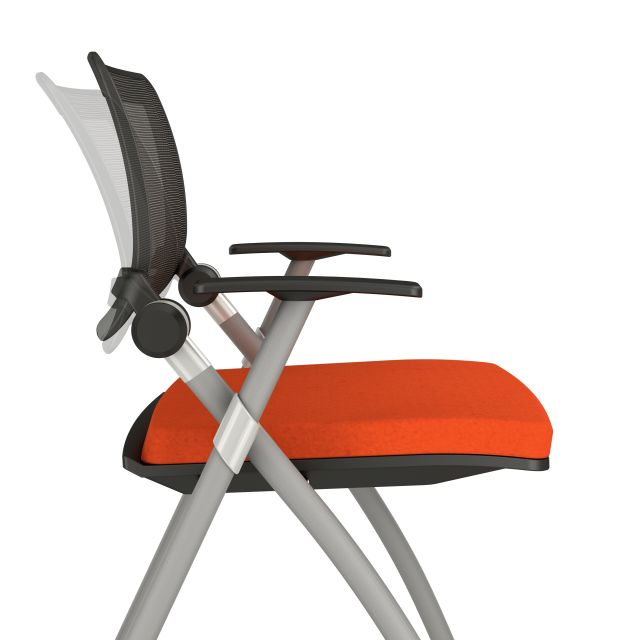 Stow Multipurpose Chair with Silver Frame, Arms, and Casters with Camira Blazer Goldsmith Fabric, Side View