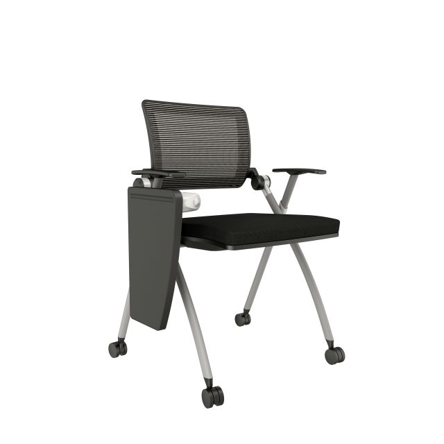 Stow with White-Black Mesh on Casters with Tablet Arm in Standard Black Fabric