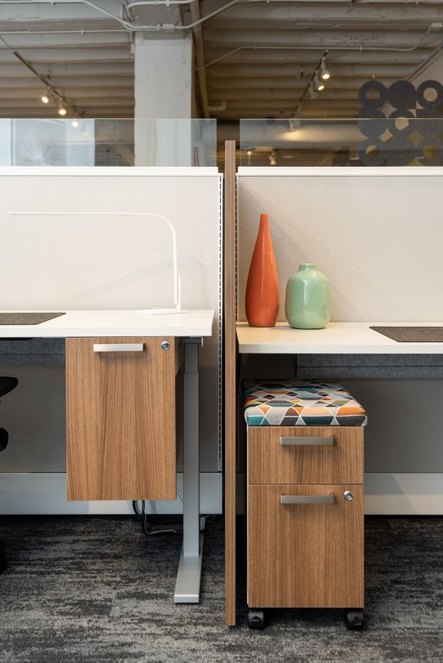 """NeoCon 2021 Calbirate Storage Suspended Pedestal and 12"""" Wide Pedestal. Separated by Divi Gallery Panel."""