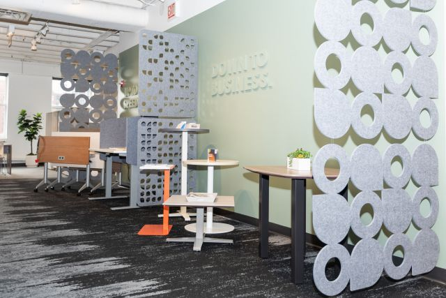 NeoCon 2021 Tables area with Day-to-Day tables and laptop table