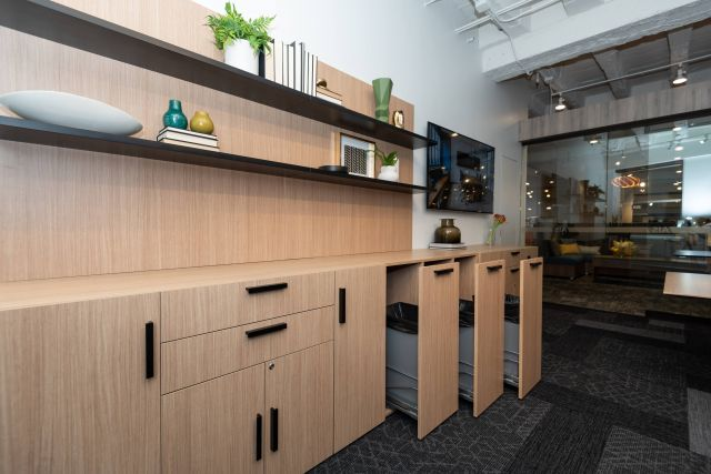 Calibrate Storage Buffet with Trash Receptacles