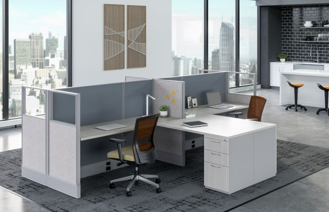 Divi Linear Open Plan Panel System Shared Workstations with linear trim, Upton Seating and Rutland Stools in background
