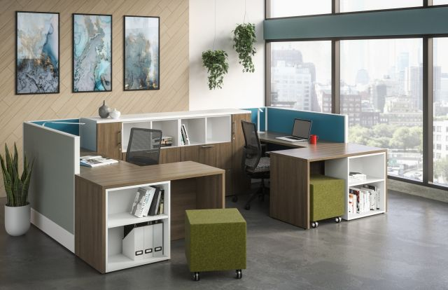 Divi Open Plan Panel System with linear trim, Shared Workstation with Calibrate Storage, Lim Lighting, Devens Task Seating, and Volker impromptu guest seating
