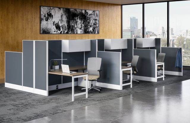 Divi Linear Open Plan Workstation with Linear Trim and High Panels for Increased Privacy