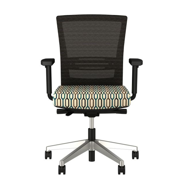 Upton with aluminum base, grey mesh, lumbar, with Carnegie Camden Fabric Seat, front view