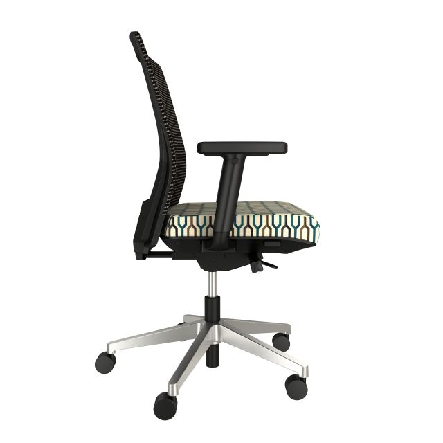 Upton with aluminum base, grey mesh, lumbar with Carnegie Camden Fabric Seat, side view