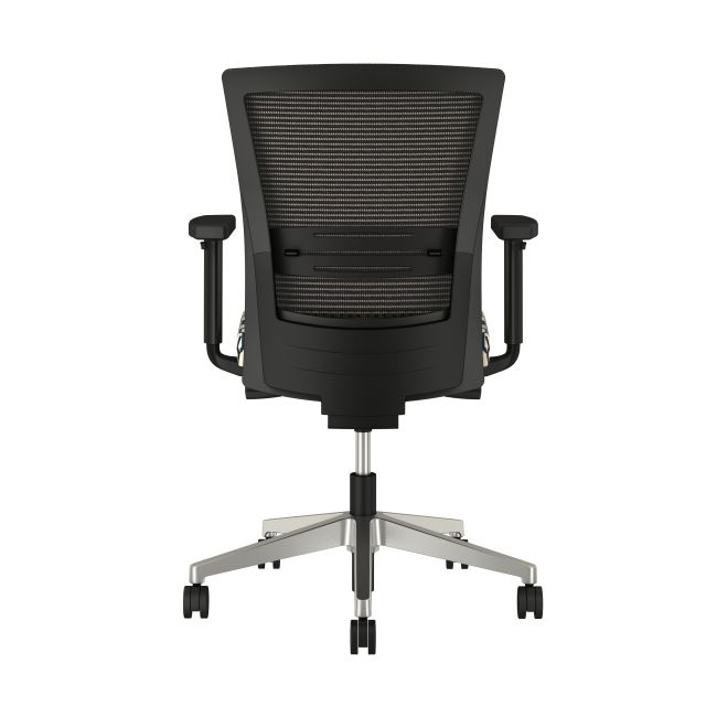 Upton with aluminum base, grey mesh, lumbar, with Carnegie Camden Fabric Seat, back view