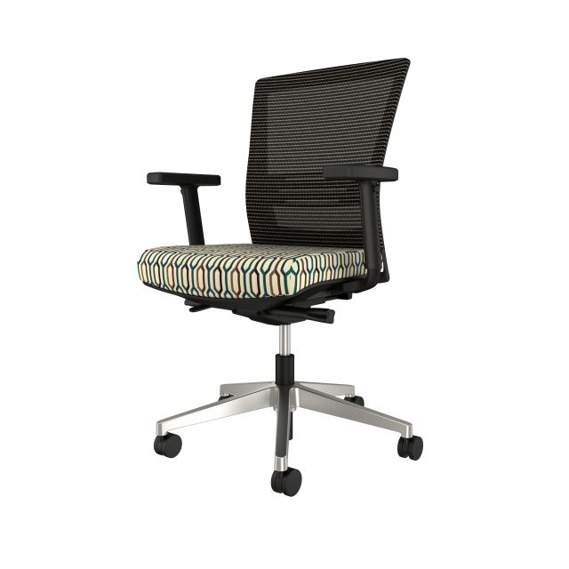 Upton with aluminum base, grey mesh, lumbar, with Carnegie Camden Fabric Seat, front right view