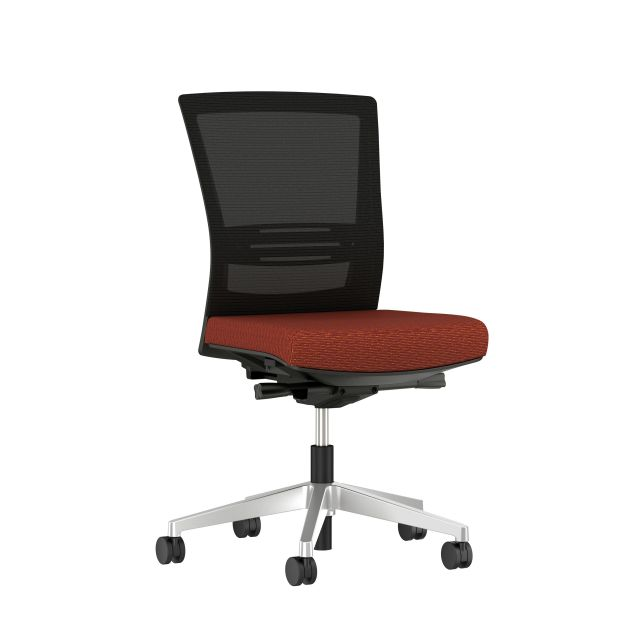 Upton armless task chair with lumbar and aluminum base, black frame, black mesh and Guilford Ticker Terracatta Fabric, 3/4 view