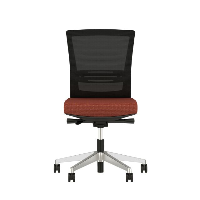Upton armless task chair with lumbar and aluminum base, black frame, black mesh and Guilford Ticker Terracatta Fabric, front view