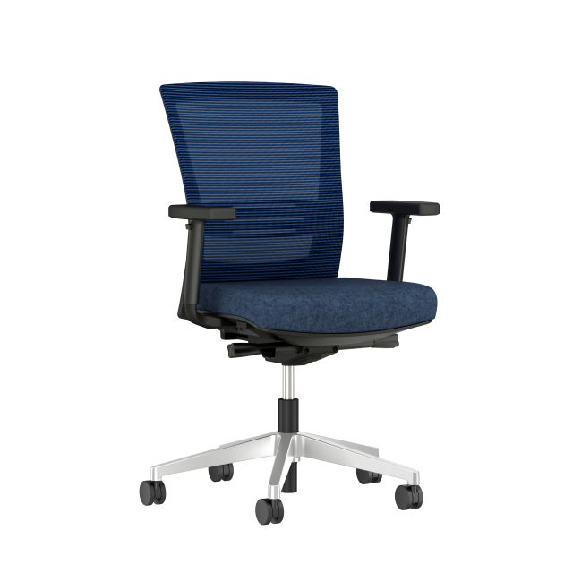 Upton with lumbar and aluminum base, black frame, blue-black stripe mesh and Camira Newcastle seat, 3/4 view