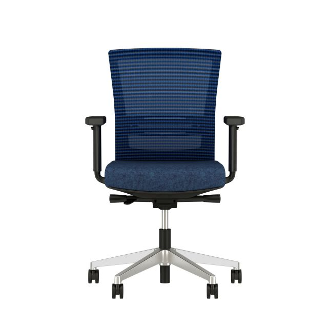 Upton with lumbar and aluminum base, black frame, blue-black stripe mesh and Camira Newcastle seat, front view