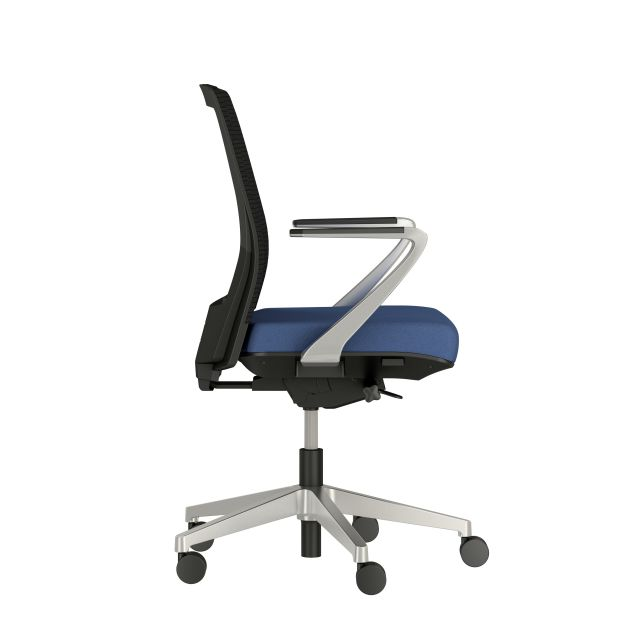 Upton with Aluminum Base, Fixed Arms, Black frame, Black-black striped mesh with Alta Mirage Upholstery in Dynamo, sde view