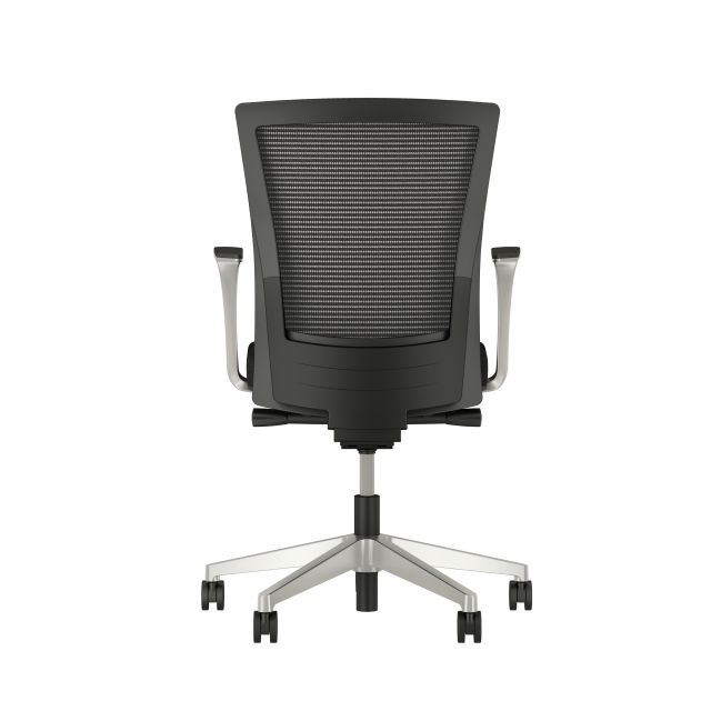 Upton with Aluminum Base, Fixed Arms, Black frame, Black-black striped mesh with Alta Mirage Upholstery in Black, back view