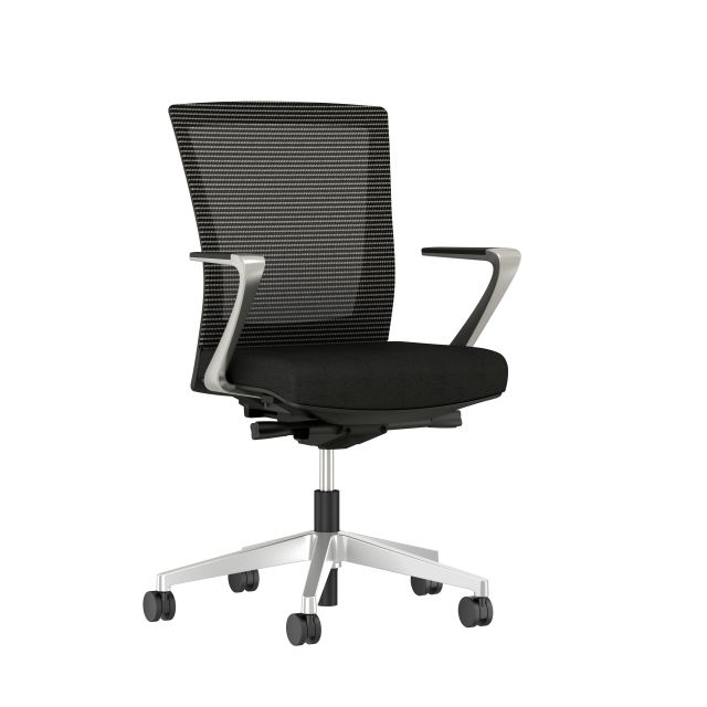 Upton with Aluminum Base, Fixed Arms, Black frame, Black-black striped mesh with Alta Mirage Upholstery in Black, 3/4view