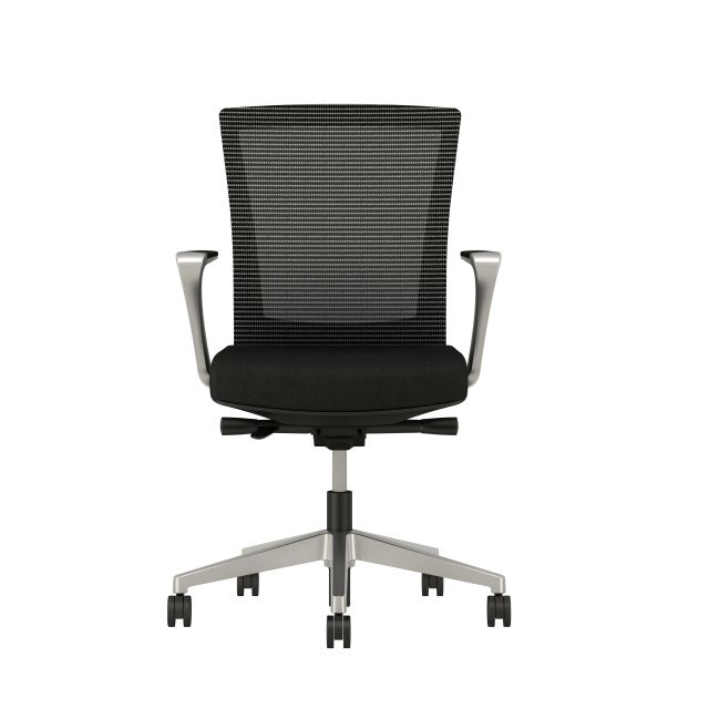 Upton with Aluminum Base, Fixed Arms, Black frame, Black-black striped mesh with Alta Mirage Upholstery in Black, front view