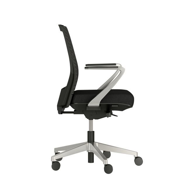 Upton with Aluminum Base, Fixed Arms, Black frame, Black-black striped mesh with Alta Mirage Upholstery in Black, sideview