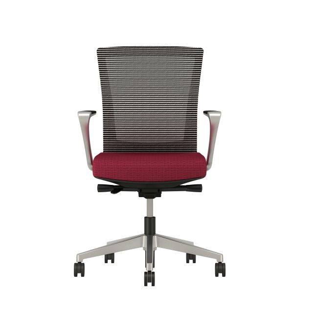 Upton with Aluminum Base, Fixed Arms, Black frame, white-black striped mesh with Alta Sway Upholstery in And Shout, front view