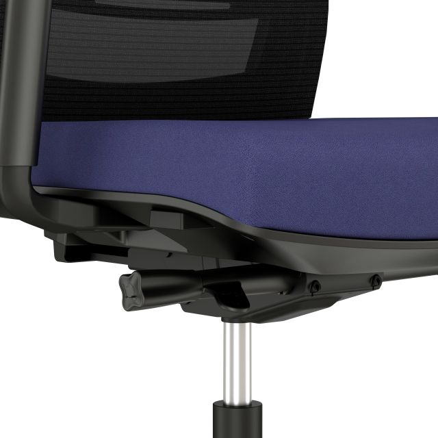 Upton up-close view of seat and adjustment controls; alta Aegean Fabric seat