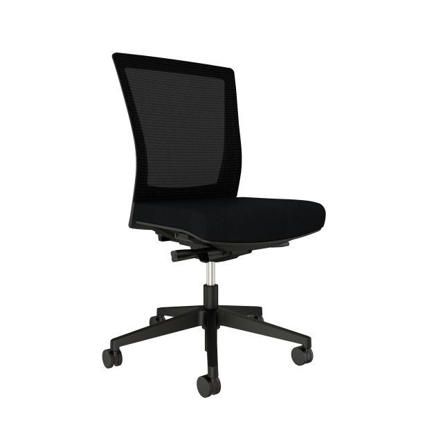 Upton with black base, black mesh, armless, with standard black fabric seat, front left view