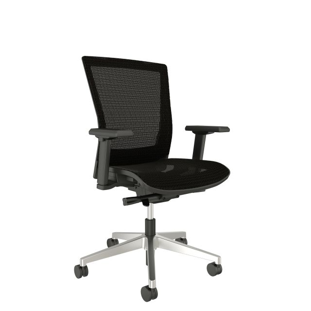 Upton Fully Mesh Chair with Polished Aluminum Base, Black Frame with Arms