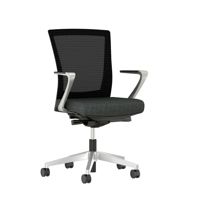 Upton with Aluminum Base, Fixed Arms, Black frame, Black mesh with Camira Blazer Upholstery in Silocates, 3/4 view
