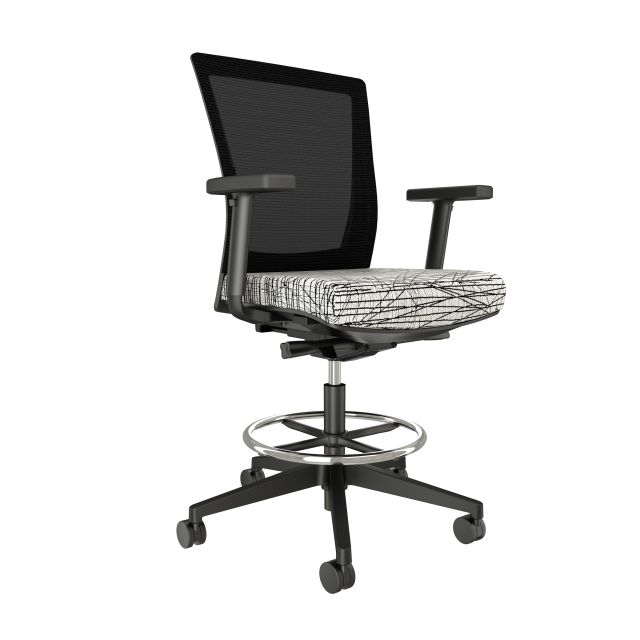 Upton Stool with Black Base and Frame, Black Mesh, HBF Scribbles XS Blanc Fabric Seat