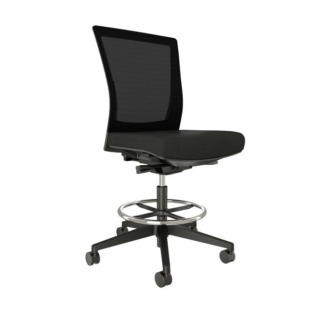 Upton Armless Stool with Black Base and Frame, Black Mesh and Standard Black Fabric Seat