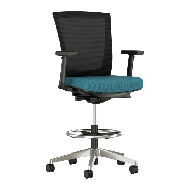 Upton Stool with Polished Aluminum Base, Black Mesh and Twist Sidewinder Seat, 3/4 view