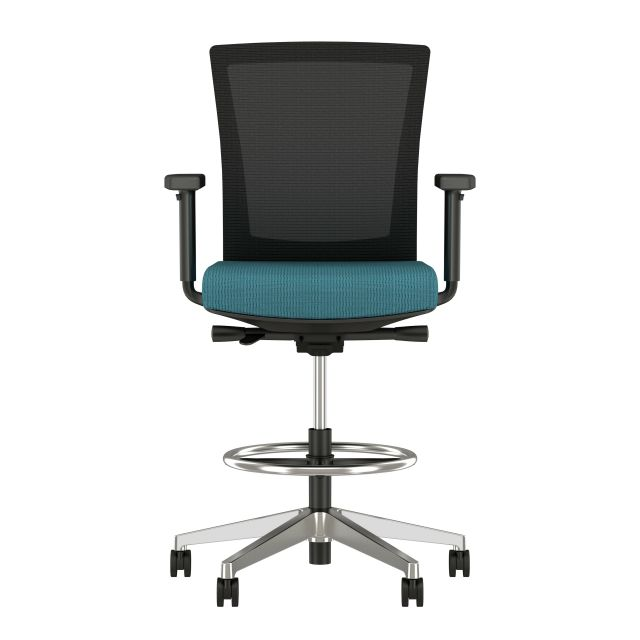Upton Stool with Polished Aluminum Base, Black Mesh and Twist Sidewinder Seat, front view