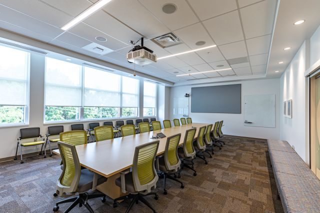 Client Site, Conference Room with Calibrate Conference Table, Natick, and Stow Seating